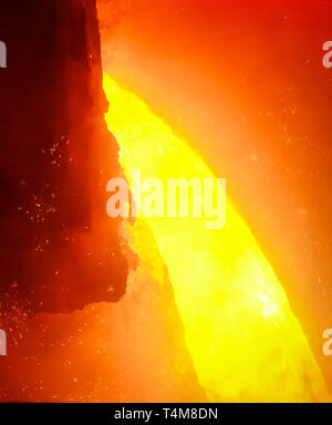 Duisburg, Ruhr area, North Rhine-Westphalia, Germany - ThyssenKrupp Steel, 1500 degree hot pig iron during tapping at blast furnace 8, up to 19 percen - Stock Photo