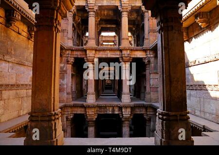 Dada Harir Vav stepwell is a Hindu water building in Asarwa Ahmedabad in the Indian state of Gujarat. - Stock Photo