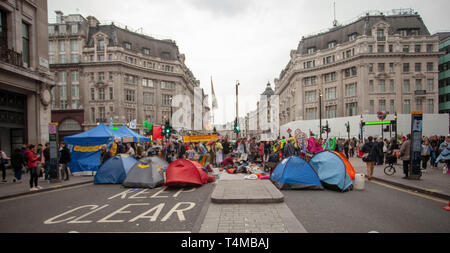 17th April 2019: Extinction Rebellion: Climate change activists tents in Oxford Circus, London. UK - Stock Photo