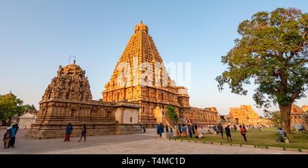 Horizontal panoramic view of the Brihadishvara Temple in Thanjavur, India. - Stock Photo