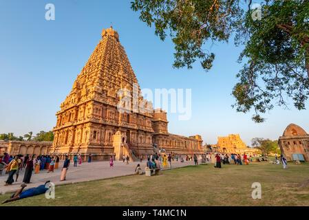 Horizontal view of the Brihadishvara Temple in Thanjavur, India. - Stock Photo