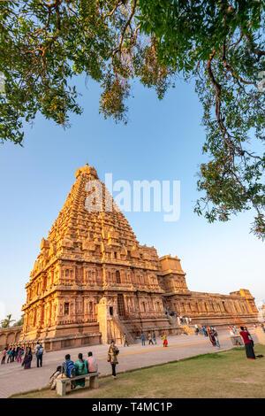 Vertical view of the Brihadishvara Temple in Thanjavur, India. - Stock Photo