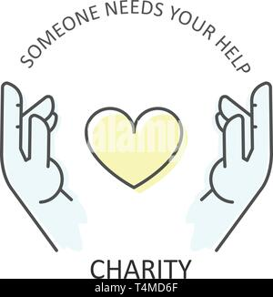 Hands embraces heart - charity, donation and volunteer help concept - Stock Photo