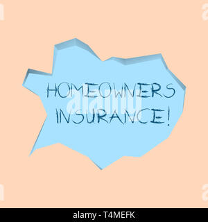Writing note showing Homeowners Insurance. Business concept for Covers losses and damages to an individual s is house Pale Blue Speech Bubble in Irreg - Stock Photo