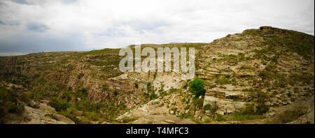 Panorama view to Adi Alauti canyon at Eritrean Highlands , Qohaito in Eritrea - Stock Photo