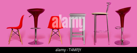 A small selection of several different chairs for the home, office or bar on a light pink background - Stock Photo