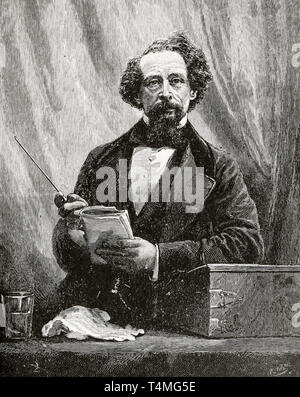 Charles Dickens (1812-1870), portrait engraving, 1892 - Stock Photo