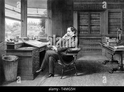 Portrait of Charles Dickens in His Gad's Hill Study, c. 1875, Samuel Hollyer - Stock Photo