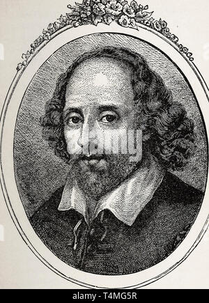 William Shakespeare (1564-1616), portrait etching, 1879 - Stock Photo