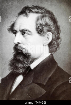 Charles Dickens (1812-1870), portrait photograph, 19th Century - from a Carte de Visite - Stock Photo