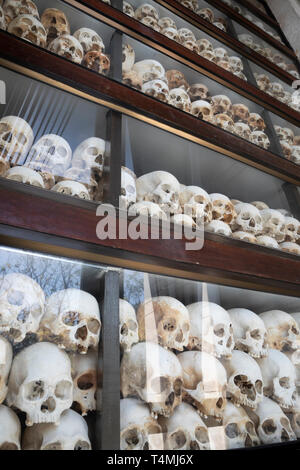 Skulls of victims of the Khmer Rouge in the Memorial Stupa at the Killing Fields of Choeung Ek, Phnom Penh, Cambodia, Southeast Asia, Asia - Stock Photo
