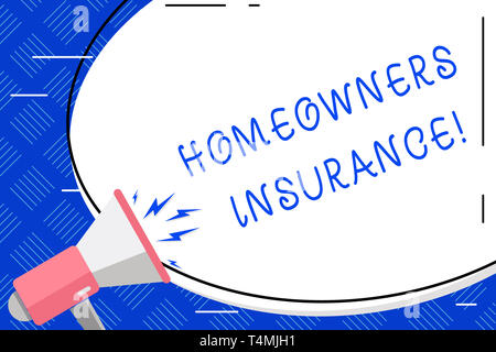 Writing note showing Homeowners Insurance. Business concept for Covers losses and damages to an individual s is house Oval Shape Sticker and Megaphone - Stock Photo