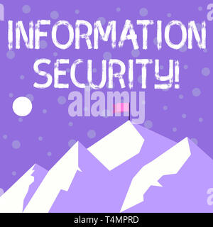 Handwriting text writing Information Security. Conceptual photo protected against the unauthorized use of information Mountains with Shadow Indicating - Stock Photo