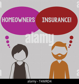 Writing note showing Homeowners Insurance. Business concept for Covers losses and damages to an individual s is house Bearded Man and Woman with the B - Stock Photo