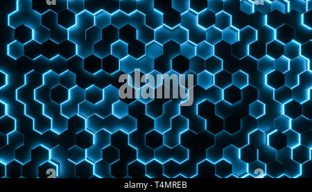 Background with geometric hexagonal geometries in carbon fiber and with shiny parts. 3d rendered image, concept of modern and futuristic structure. Stock Photo