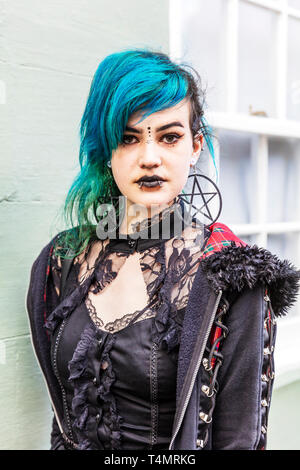 Whitby Goth Weekend 2019, Whitby Goths, Whitby Goth, goth, goths, gothic costume, Whitby, Yorkshire, UK, Goth characters, goth costume, Goth, Goths, - Stock Photo
