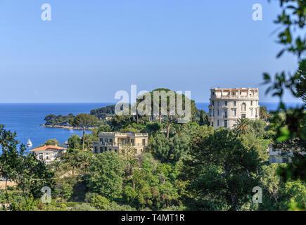 France, Alpes Maritimes, Saint Jean Cap Ferrat, villas on Saint Jean Cap Ferrat peninsula, view from the Ephrussi de Rothschild gardens // France, Alp - Stock Photo