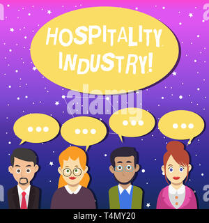 Writing note showing Hospitality Industry. Business concept for focus on the hotel and accommodation industry Group of Business People with Speech Bub - Stock Photo