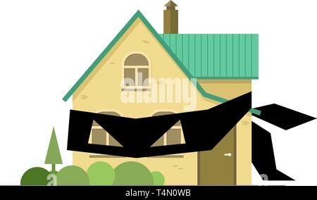 House with black criminal bandage blindfold masked robber symbol fraud. Dangerous real estate trade deal. Vector illustration cartoon style isolated - Stock Photo