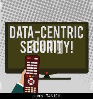 Handwriting text writing Data Centric Security. Conceptual photo Identify and protect data wherever it resides Hand Holding Computer Remote Control in - Stock Photo