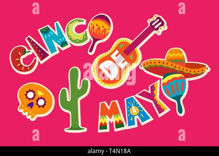 Cinco de Mayo celebration in Mexico. May 5, Latin America holiday. Colorful, detailed, lots of objects background. Vector template with traditional Me - Stock Photo