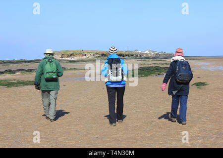 Walkers approaching Middle Eye - part of three islands within the Hilbre Island archipelago, Dee Estuary, UK - Stock Photo