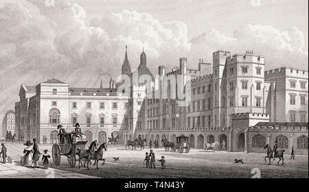 The Parliament House, from Old Palace Yard, London, illustration by Th. H. Shepherd, 1828 - Stock Photo