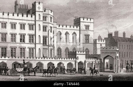 The King's Entrance to the House of Lords, London, illustration by Th. H. Shepherd, 1828 - Stock Photo