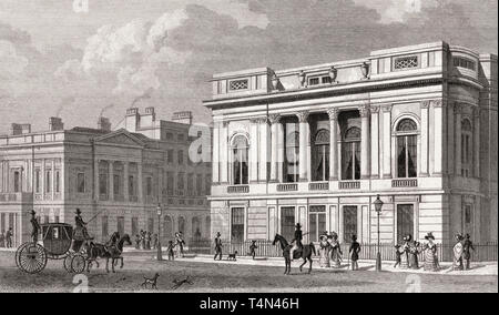 Pall Mall East, Westminster, London, illustration by Th. H. Shepherd, 1828 - Stock Photo