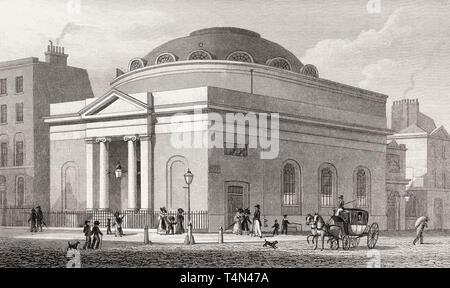 Albion Chapel, London, illustration by Th. H. Shepherd, 1828 - Stock Photo