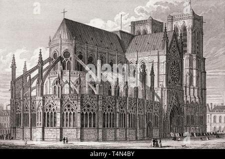 Notre-Dame de Paris, antique steel engraved print, 1831 - Stock Photo