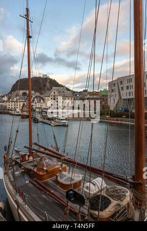 'Wyvern av Aalesund' on her moorings, Ålesund, Møre og Romsdal, Norway - Stock Photo