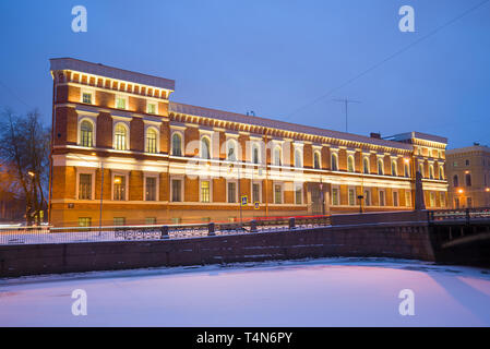 ST. PETERSBURG, RUSSIA - JANUARY 30, 2018: Building of the Naval Museum in the light of January evening - Stock Photo