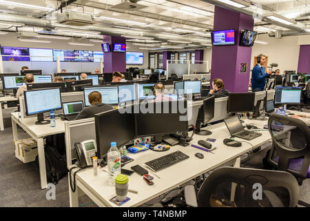 Inside BT's Network Control Centre (iNOC), Belfast, Northern Ireland, UK, United Kingdom - Stock Photo