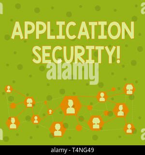 Word writing text Application Security. Business photo showcasing methods to protect applications from external threats Online Chat Head Icons with Av - Stock Photo