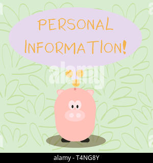 Writing note showing Personal Information. Business concept for recorded information about an identifiable individual Speech Bubble with Coins on its  - Stock Photo