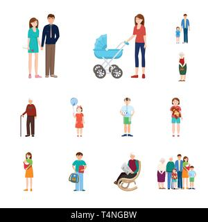 Vector illustration of family  and people logo. Set of family  and avatar  stock vector illustration. - Stock Photo