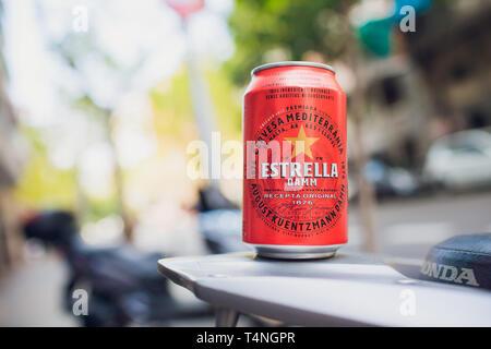 Barcelona, Spain - May 27, 2018: Maybe Estrella Damm beer. Estrella Damm - Pilsner beer brewed in Barcelona, Catalonia, Spain. - Stock Photo