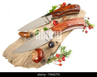 Unique Hunting Knives on white Background - Stock Photo