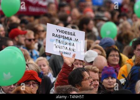 Helsinki, Finland - September 24, 2016: Peli poikki - Rikotaan hiljaisuus - protest rally against racism and right wing extremist violence in Helsinki - Stock Photo