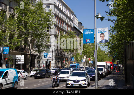 Madrid, Spain - 04 12 2019: Political campaign banners of the Partido Popular, showing their lead candidate for president  Pablo Casado - Stock Photo
