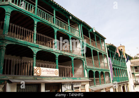 Chinchon, Spain - 04 14 2019: Typical green balconies of the main plaza - Stock Photo