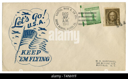 US historical envelope: cover with patriotic cachet Let's go U.S.A. Keep 'em flying and two postage stamp for defence, Nathan Hale, cancellation, 1941 - Stock Photo