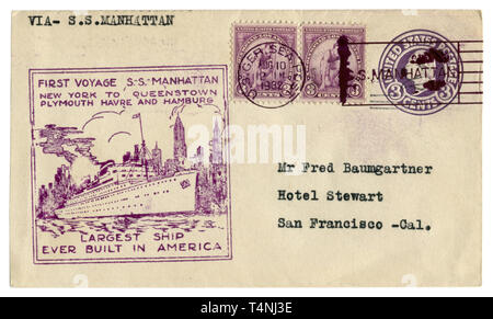 US historical envelope: cover with cachet first voyage S.S.  Manhattan and thee postage stamp 10th Olympiad Los Angeles,  George Washington, 1932 - Stock Photo