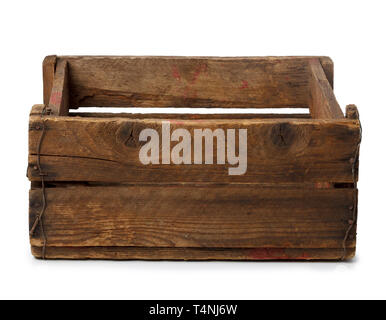 Vintage empty wooden crate isolated on white - Stock Photo