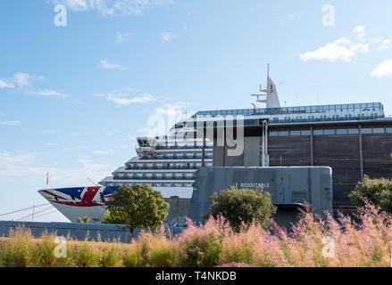 Cherbourg, France - September 01, 2018: Vista class cruise ship Arcadia in the port of Cherbourg-Octeville . France - Stock Photo