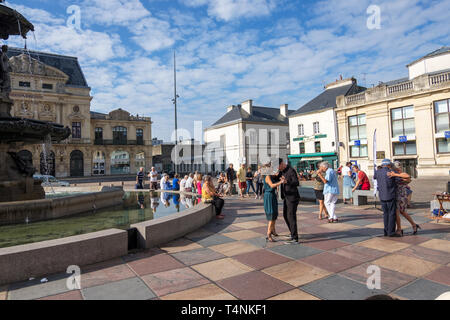Cherbourg, France - September 01, 2018: La tangomanie in Cherbourg-Octeville. Couples dancing tango on Place du General de Gaulle. Cherbourg, France - Stock Photo