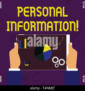 Writing note showing Personal Information. Business concept for recorded information about an identifiable individual Hands Holding Tablet with Search - Stock Photo