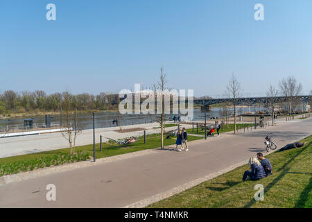 Warsaw, Poland. April 2018.   relax along the banks of the Vistula River in the spring - Stock Photo