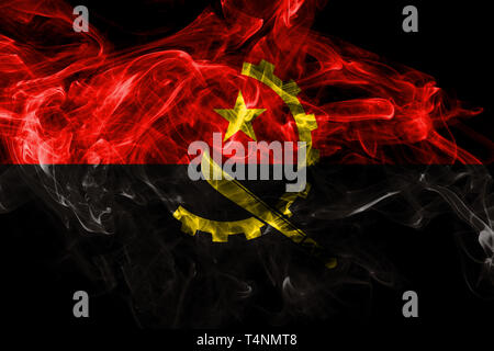 Angola smoke flag isolated on black background - Stock Photo